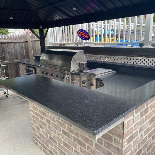 Black Mist Leather Outdoor BBQ Countertop