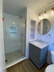 elkins-park bathroom remodel: circle mirror